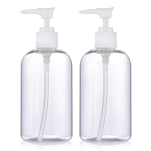 ZMCARE 2-Pack (10 Oz) Empty Hand Sanitizer Pump Bottles — Dispenser for Shampoo, Lotions and Gels — BPA-Free Clear PET Plastic, Great for Travel-Pack Hand Sanitizer Refills from Bulk Gallon Containers
