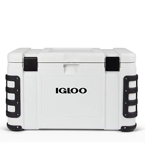 Igloo Leeward 50 Quart Marine Grade Lockable Insulated Fishing Ice Chest Cooler with Cutting Board, Fish Ruler, and Tie-Down Points, White
