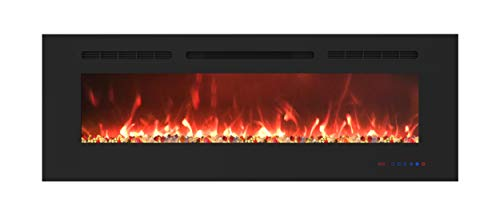 EASE-WAY 60 inch Electric Fireplace, Recessed and Wall Mounted Electric Fireplace Insert, Control by Touch Panel & Remote, 13 Flame Settings