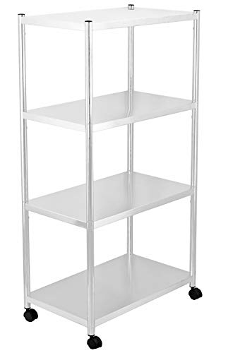 jepreco 4-Tier Stainless Steel Utility Shelving Unit with Wheels 23.6' L x 13.8' W x 43.5' H, Adjustable Storage Shelf Cart for Kitchen Office Home, Multi-Purpose Organizer Rack