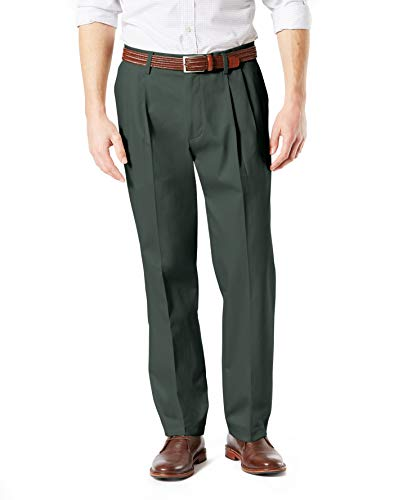 Dockers Men's Classic Fit Signature Khaki Lux Cotton Stretch Pants-Pleated, Olive Grove, 36W x 34L