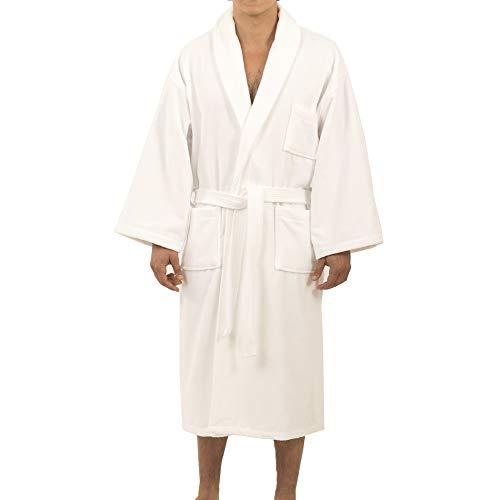 Alpine Swiss Aiden Mens Cotton Terry Cloth Bathrobe Shawl Collar Velour Spa Robe WHT ML