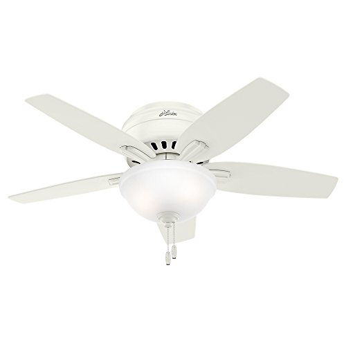 Hunter Newsome Indoor Low Profile Ceiling Fan with LED Light and Pull Chain Control, 42', Fresh White