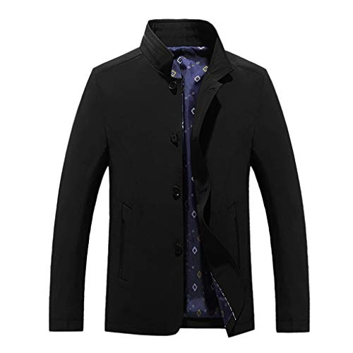 Men's Trenchcoats Coat Autumn Winter Casual Pure Color Jacket Button Outwear Tops Beautyfine Black