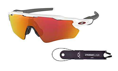 Oakley Radar EV Path OO9208 920872 38M Polished White/Prizm Ruby Sunglasses For Men+BUNDLE with Oakley Accessory Leash Kit