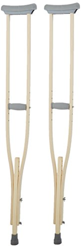 Sammons Preston Wooden Crutches, Adult Size, Latex Free, Sturdy Leg Supports for After Injury or Post Surgery, Adjustable Height and Handle Crutches for Elderly, Handicapped, and Disabled users