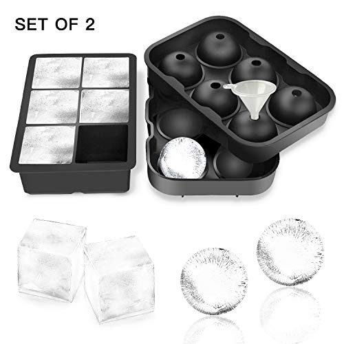 Alfheim Six-hole Ice Cube Trays Ice Ball Silicone Moulds, Set of 2, Sphere Ice Ball Maker with Lid & Large Square Molds, Reusable and Without BPA