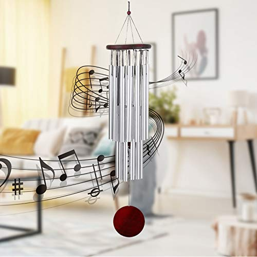 Frantie 29' Wind Chimes, Soothing Melodic Unique High Pitch Metal Wind Chimes for Outside, Outdoor Decor for Porch Garden Backyard, Memorial WindChimes, (Aluminum)