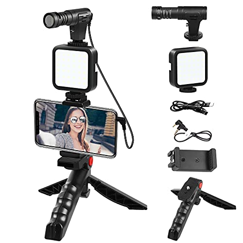 Microphone for iPhone Smartphone Video Microphone Kit with LED Light Tripod 3.5mm Jack External Mic for Interview Android Samsung Vloging YouTube Asmr
