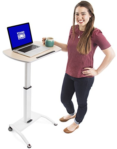 Stand Steady Multifunctional Mobile Podium | Portable Sit to Stand Lectern with Pneumatic Height Adjustments | Rolling Laptop Stand Perfect for School, Home & Office! (White)