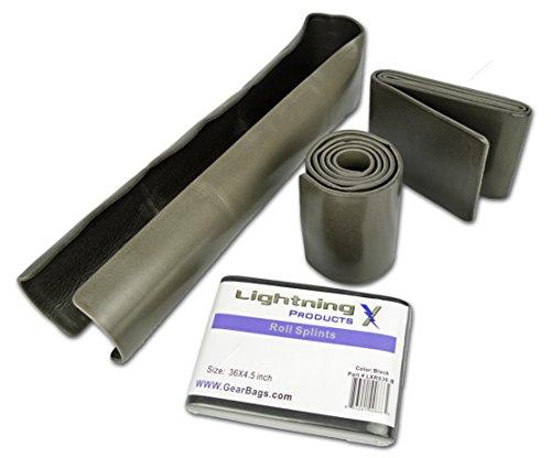 Lightning X Folded Universal Aluminum Medical Tactical Roll Splint 4.5' x 36' for First Aid Kits - Black/Grey