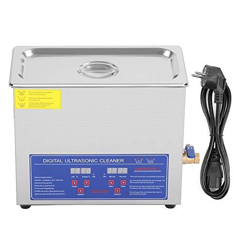 Cleaning Machine 10L, Professional High Frequency Vibration Stainless Steel Low Noise Knob Control Cleaner with Mechanical Timer Heater 330x270x270 mm (Cleaning Tank) 430x370x380mm (Machine Shape)