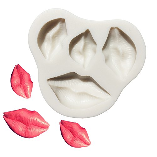 Kiss Collection Fondant Candy Silicone Mold, Lips Fondant Mold for Sugarcraft Cake Decoration, Cupcake Topper, Polymer Clay, Soap Wax Making For Baby Shower Wedding Party Supplies Favors
