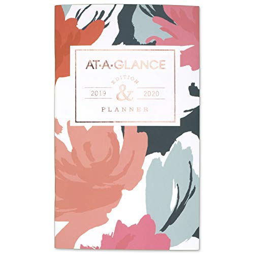 AT-A-GLANCE 2019-2020 Monthly Planner, 2 Year, 3-1/2' x 6', Pocket, Badge Floral (1148B-021)