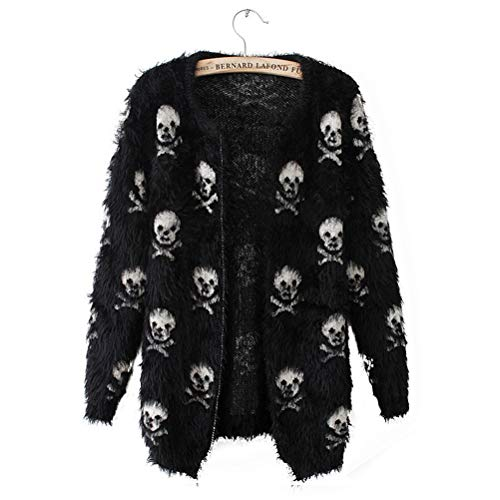 Shanenxn Women's Casual Skull Printed Open Front Mohair Knit Short Cardigan Sweater Coat Outwear (Color : Black, Size : One Size)