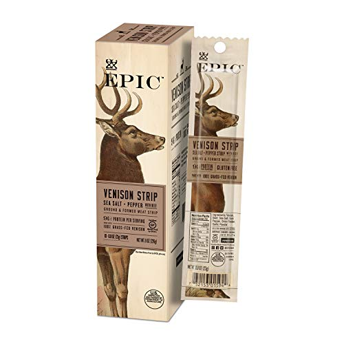 EPIC Venison & Beef Strips, Whole 30 Approved, Keto Friendly, 10Ct Box 0.8oz strips