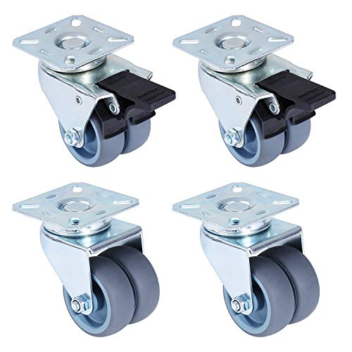 "femor 2"" Swivel Caster Wheels, Heavy Duty Locking Casters Set of 4 with 2 Brakes, Replacement Casters for Furniture, Carts, Dolly,Trolley- 120 Lbs Per Caster"