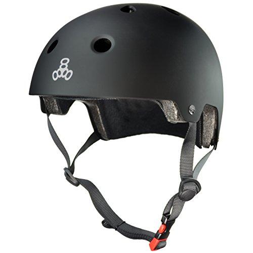 Triple Eight Dual Certified Bike and Skateboard Helmet, Black Matte, Small / Medium (3037)