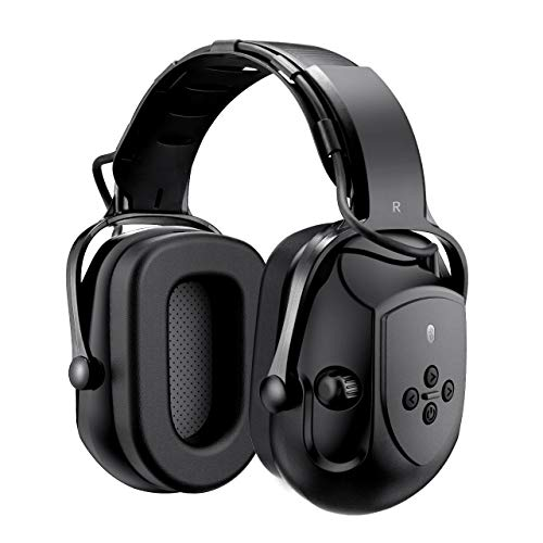 Mpow HP102A Bluetooth Noise Reduction Safety Ear Muffs, NRR 29dB/SNR 36dB Adjustable Ear Hearing Protection Headphones with 3.5mm AUX, Built-in Mic, Rechargeable Battery and Volume Control, Black