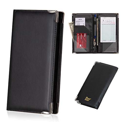 Happy Server Waiter Waitress Book and Server Wallet with 11 Pockets and Pen Holder – Keep Guest Checks, Money and Daily Specials Notes Neat and Organized – Soft PU Leather with Metal Corners