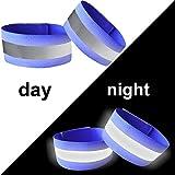 YSSAFE 2 Packs Blue Reflective Wristbands/Belt/Armbands/Ankle Bands Adjustable Elastic High Visibility Safety Reflector Tape Straps