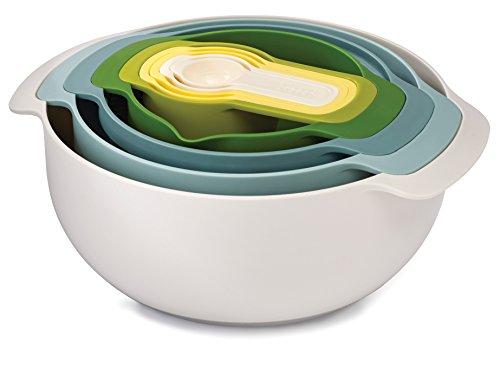 Joseph Joseph Nest 9 Nesting Bowls Set with Mixing Bowls Measuring Cups Sieve Colander, 9-Piece, Blue