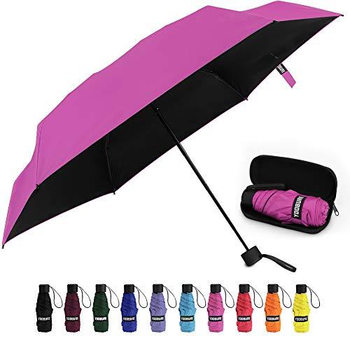 Small Mini Umbrella with Case Light Compact Design Perfect for Travel Lightweight Portable Parasol Outdoor Sun&Rain Umbrellas