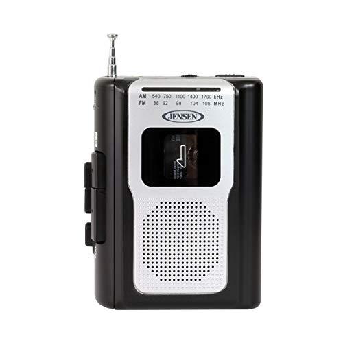 Jensen Retro Portable AM/FM Radio Personal Cassette Player Compact Lightweight Design Stereo AM/FM Radio Cassette Player/Recorder & Built in Speaker (Black)