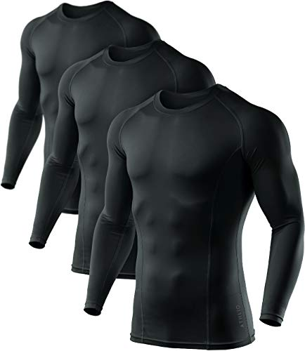 ATHLIO Men's Cool Dry Fit Long Sleeve Compression Shirts, Active Sports Base Layer T-Shirt, Athletic Workout Shirt, 3pack Round Neck(bls01) - Black/Black/Black, Large