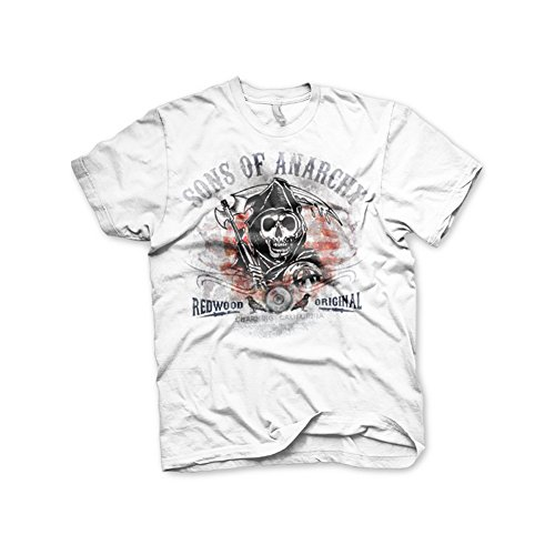 Sons of Anarchy Officially Licensed Merchandise Distressed Flag T-Shirt (White), X-Large