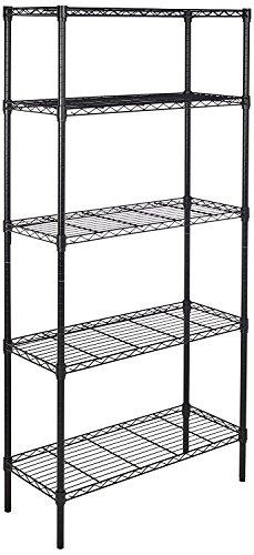 AmazonBasics 5-Shelf Adjustable, Heavy Duty Storage Shelving Unit (350 lbs loading capacity per shelf), Steel Organizer Wire Rack, Black,(36L x 14W x 72H)