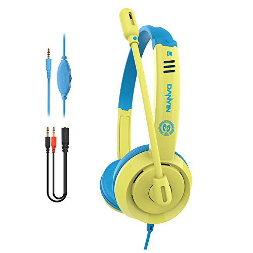 Pmallcity Kids Headphones for School, Volume Control Safe Adjustable Headband Headsets with Noise Isolation Mic, 3.5mm Jack Childrens Wired Headphones for Kids Boys Girls Adult Learning PC Tablet