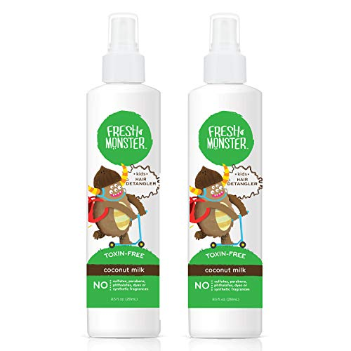 Fresh Monster Detangler Spray For Kids, Coconut | Toxin-Free, Hypoallergenic & Natural (2 pack)