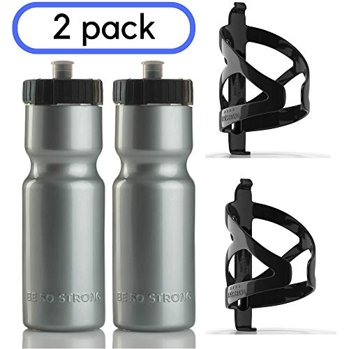 50 Strong Bike Bottle Holder with Water Bottle - 2 Pack - 22 oz. BPA Free Bicycle Squeeze Bottle and Durable Plastic Holder Cage- Made in USA (Silver)