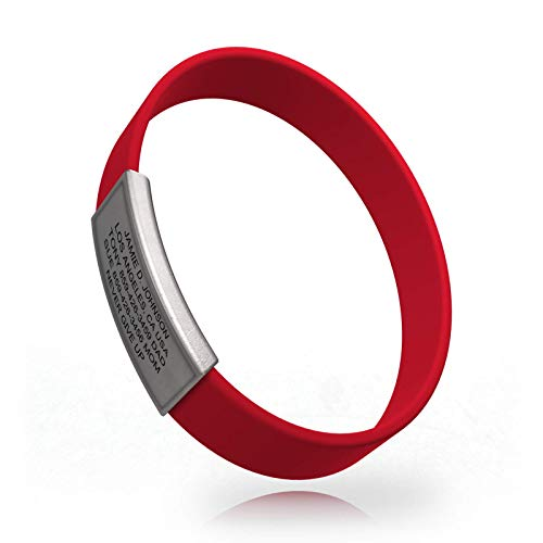 Road ID Premium Bracelet - The Wrist ID Stretch - 13mm Wide - Silicone Wristband - for Athletes - 5 Colors