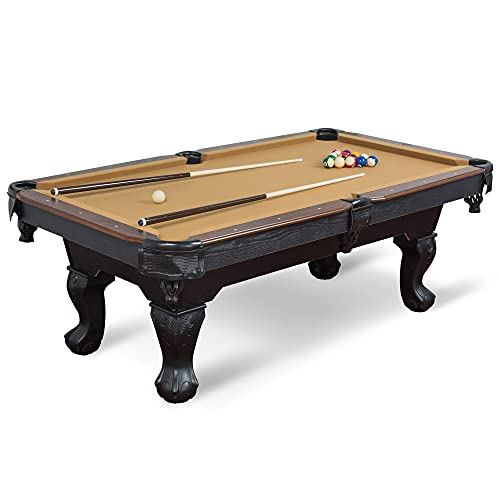 EastPoint Sports Masterton Billiard Pool Table - Tan Felt, 87-inch - Features Traditional Claw Legs and Parlor Style Drop Pockets - Includes 2 Cues, Billiards Balls, and Triangle