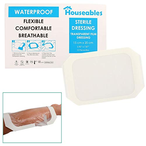 "Transparent Film Dressing, Waterproof Bandages Post Surgical, 5.9""x7.87"", 10 Pk, Clear, Large, Dialysis Bandage, Wound Care, Seal, Protection, Medical Adhesive Patch, for Tattoo, First Aid"
