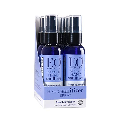 EO Organic Hand Sanitizer Spray: French Lavender, 2 Ounce, 6 Count