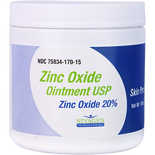 Zinc Oxide Ointment USP 20% | for Diaper Rash, Chafed Skin, Protects from Wetness, Relief from Poison Ivy, Poison Oak, & Poison Sumac | 15oz Jar of Zinc Oxide