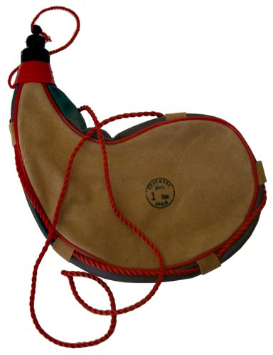 sammi Leather, Latex Lined, 1 Liter Traditional Spanish Bota Bag with Braided Shoulder Strap, Brown