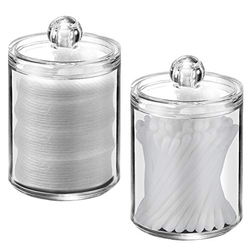 XP-Art Cotton Swab Holder Clear Acrylic Cotton Ball Holder with Lids (2 Pack )