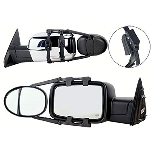 K-Source Inc. 3990 Universal Dual Lens Towing Mirrors With Ratchet Mount System 5In X 7In Mirror Head Sold As A Pair