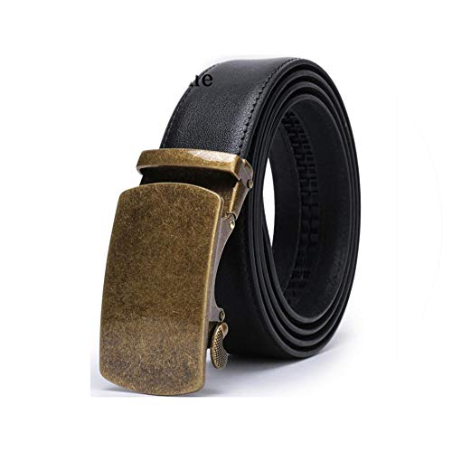 Men's Solid Buckle with Automatic Ratchet Leather Belt 35mm Wide 1 3/8 Classic Designer Belts