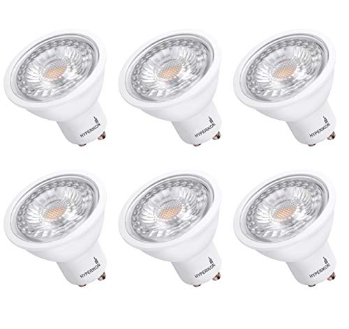 Hyperikon GU10 LED Bulb Dimmable 6.5W=50W, 120V MR16 Light for Track Lighting, UL, Energy Star, Daylight White, 6 Pack