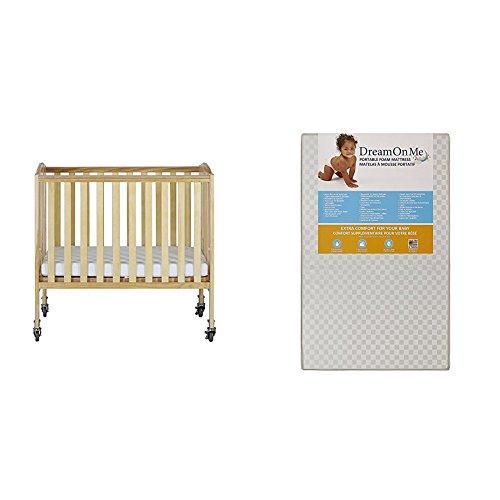Dream On Me 2 in 1 Folding Birch Portable Crib with Dream On Me 3 Portable Crib Mattress, White