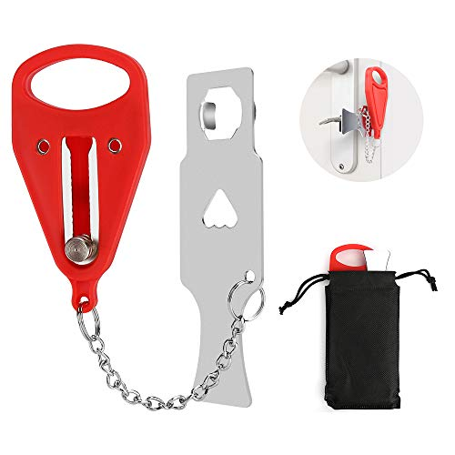 Portable Door Lock, Travel Pocket Lock, School Lock, Sturdy Door Lock Security Device, Suitable for Home, Hotel, Apartment, Traveling, Providing Extra Security and Privacy Protection