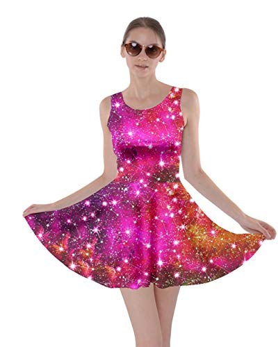 CowCow Womens Constellation Pink Space Astronomy Galaxy Skater Dress - XS