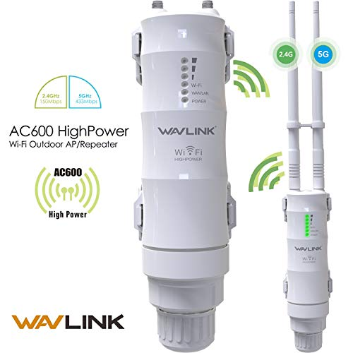 WAVLINK-WN570HA1-AC600 Dual Band 2.4+5G 600Mbps 802.11AC Outdoor WiFi Extender, 3 in 1 Wireless Repeater/Router/PoE Access Point (AP)/ Internet Bridge Amplifier Signal Booster【Upgrade Version】