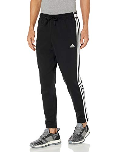 adidas Male Must Haves 3-Stripes Tapered Pants, Black , L