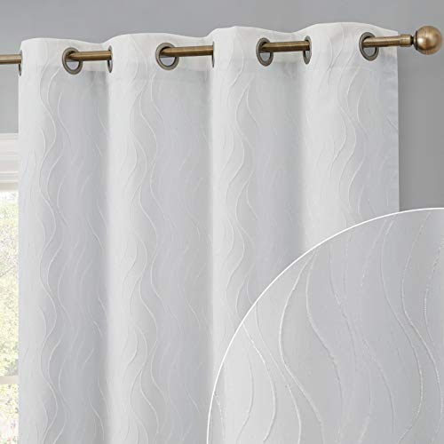 HLC.ME Camden Fashion 100% Full Blackout 2 Layer Winter Heat Thermal Insulated Energy Savings Short Thick Window Curtain Drapery Grommet Panels for Living Room & Bedroom, Set of 2 (50 W x 96 L, White)